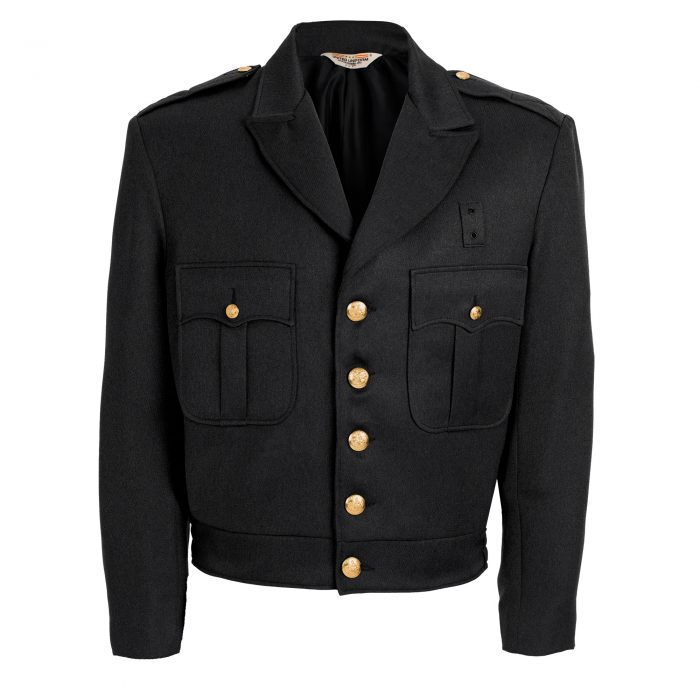 100% Polyester Black Button Up Ike Jacket