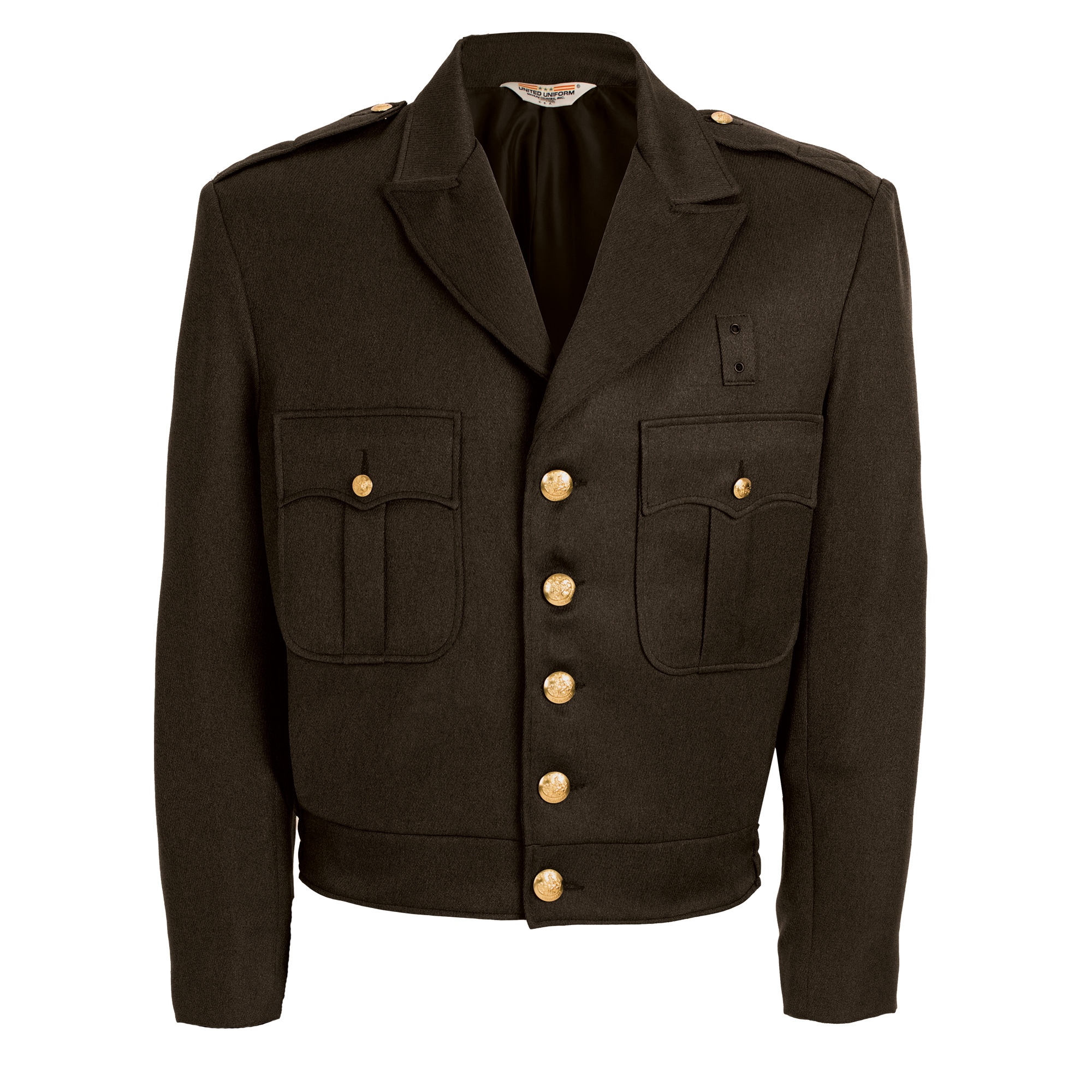 55% Polyester and 45% Wool Brown Button Up Ike Jacket